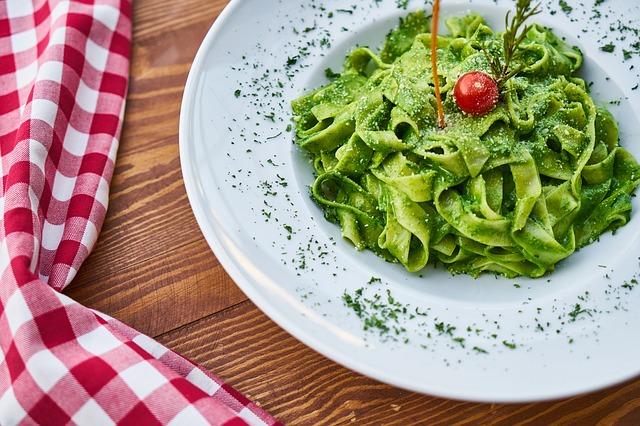 zelené těstoviny